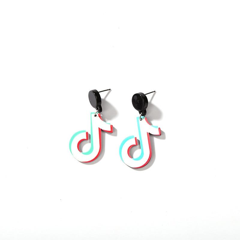 4 Kinds Tik Tok Musical Notes Black Stud Golden Chains Star Asymmetrical Drop Earrings for Women Dangle Earrings