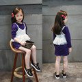 Hot Sale New 2016 spring girl dress lace purple baby girl dress children clothing children dress 2-7T kids dresses for girls