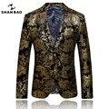 De alta calidad de los hombres de negocios traje chaqueta ocasional 2017 nuevo popular estampado de lámina de oro de oro traje de dos botones traje blazer hombres