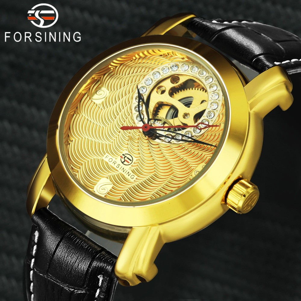 FORSINING Luxury Men Women Automatic Mechanical Watches Iced Out Skeleton Dial Louvre Series Clock Fashion Lovers WristwatchFORSINING Luxury Men Women Automatic Mechanical Watches Iced Out Skeleton Dial Louvre Series Clock Fashion Lovers Wristwatch