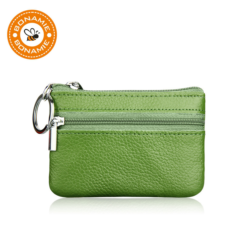 BONAMIE Genuine Leather Coin Purse Women Small Wallet Change Purses Mini Zipper Money Bags Children's Pocket Wallets Key Holder ladies leather wallets women small change purse mini zipper wallet money pocket credit coin purses coin key pouch change bag