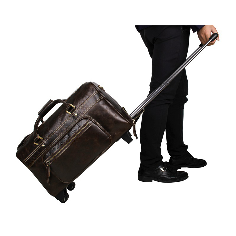 J.M.D High quality Men's travel Bags suitcase Handmade Crazy Horse Leather Unique Tote Luggage Wheel Travel Trolley Bags 7317 vintage suitcase 20 26 pu leather travel suitcase scratch resistant rolling luggage bags suitcase with tsa lock