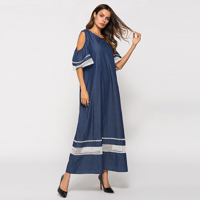 Women Fashion High Waist Plus Szie Muslim Splice Long Sleeve Dress Islam Jilbab Elegant Design Maxi Dresses Clothes z0415 3