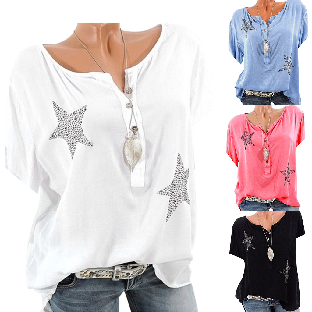 Blouse Womens 2019 Summer Button Five-pointed Star Hot Drill Tops Women Casual Blusas Mujer Plus Size Blouse High Resilience Women's Clothing