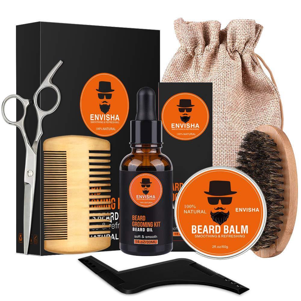 7pcs/set Men Barba Beard Kit Styling Tool Beard Essence Oil Comb Moustache Balm Moisturizing Wax Styling Scissors Beard Care Set