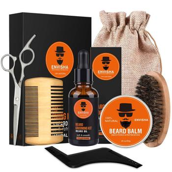 7pcs/set Men Barba Beard Kit Styling Tool Beard Essence Oil Comb Moustache Balm Moisturizing Wax Styling Scissors Beard Care Set 1