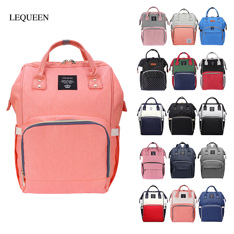 LEQUEEN Mommy Large Capacity Diaper Bags Baby Mummy Outdoor Travel Waterproof Backpack Baby Care Nursing Nappy Bag