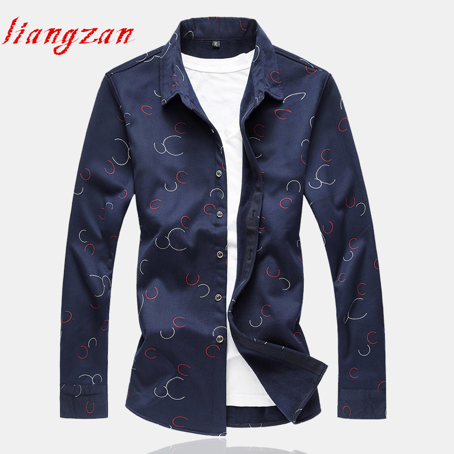 Men Casual Dress Shirt Slim Fit Autumn Long Sleeve Business Brand Big Size 6XL 7XL Male Thick Winter Shirts SL-F029