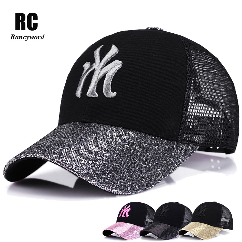 branded baseball caps wholesale custom printed stone washed sports new women cap with mesh bone hip hop