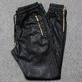 Calças Basculador Corredores homens PU Couro Side Zipper 2017 Nova Moda Calças De Couro Masculinos Frete Grátis