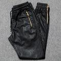 Hombres Joggers Basculador Pantalones Cremallera Lateral de Cuero de LA PU 2017 Nueva Moda Masculina Pantalones de Cuero Envío Gratis