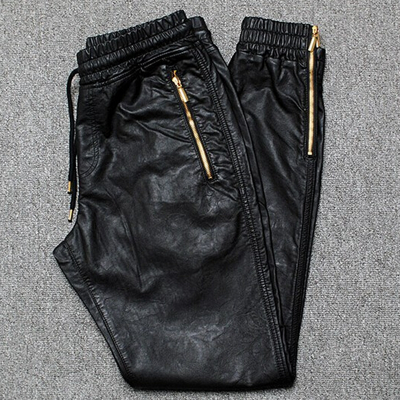 Men Joggers PU Leather Jogger Pants Side Zipper 2017 New Fashion Male Trousers - LOLLIN-POPPIN Store store