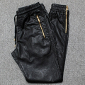 Men Joggers PU Leather Jogger Pants Side Zipper 2017 New Fashion Male Leather Trousers Free Shipping
