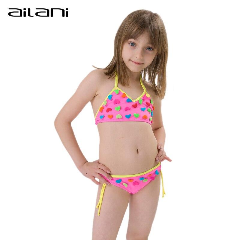 a8cc83ed3e Lovely Summer Bikini Girls Heart Swimwear Solid Newest Patchwork Swimsuit  For Girls Kids Girl Beachwear Bikinis CL120-in Bikinis Set from Sports ...