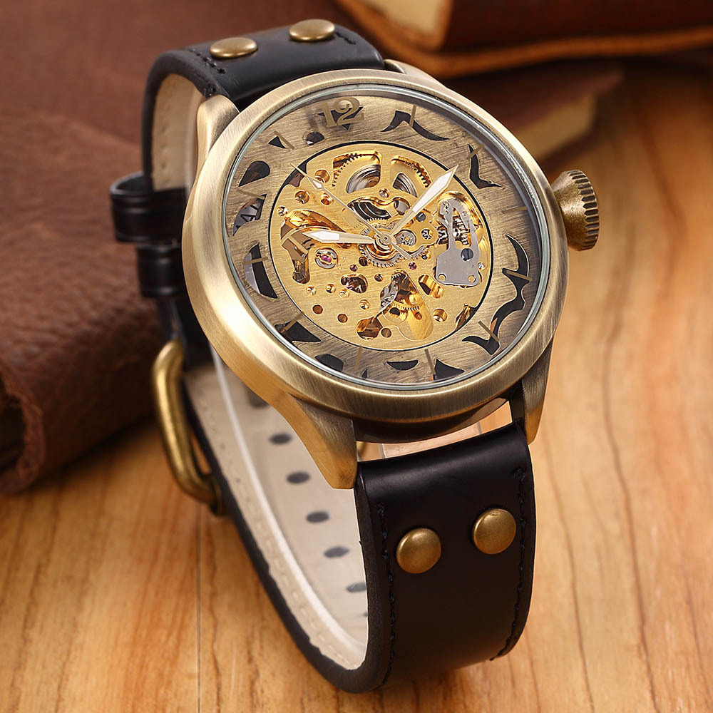 Brand Clock men Skeleton mechanical Watch men automatic self wind Vintage luxury quality gift Steampunk New k colouring women ladies automatic self wind watch hollow skeleton mechanical wristwatch for gift box