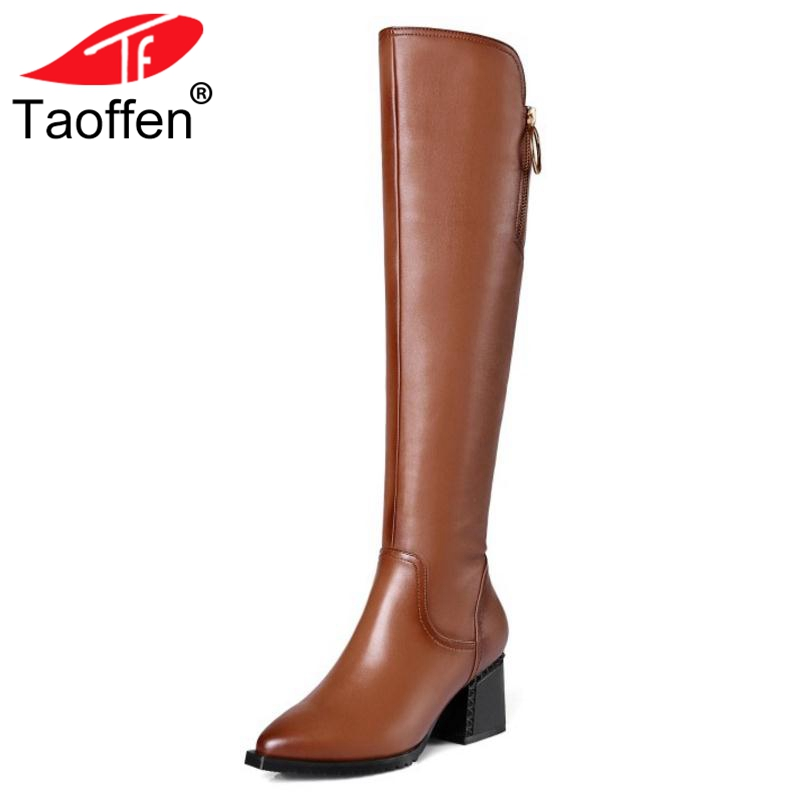 Taoffen Women Knee High Boots Genuine Leather Shoes Women Winter Warm Thick High Heel Boots Sexy Zipper Fur Shoes Size 34-42 bling pu leather women sexy boots high heels zipper shoes warm fur winter boots for women x1022 35