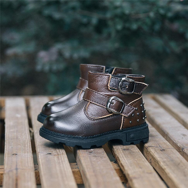 2016 Winter Shoes Boys And Girls Rivet Children Martin Boots Warm Buckle Kids Toddler Boost Ankle Boots Baby's Shoes Plush