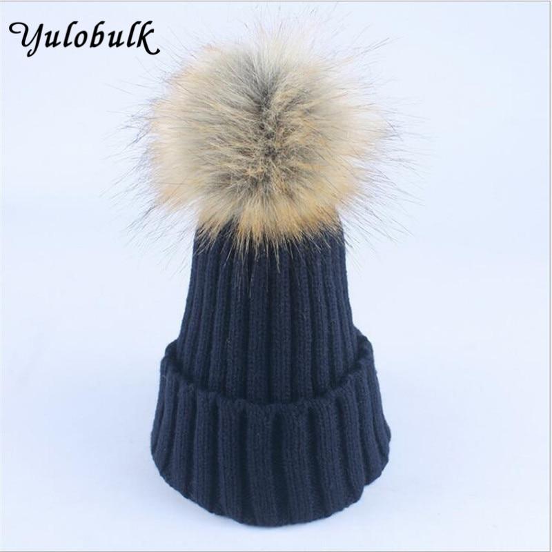 15 Color 2017 New Hat Female Knitted Faux Fur Pom Poms Women Cap Head Warmer Women's Winter Hats Skullies Beanies Gorro Invierno