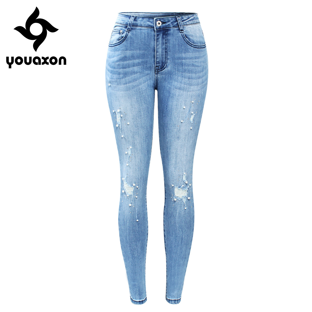2184 Youaxon Brand New EU Size Ripped Jeans With Beads Woman Plus Size Stretchy Denim Skinny Pants Trousers For Women Jeans-in Jeans from Women's Clothing