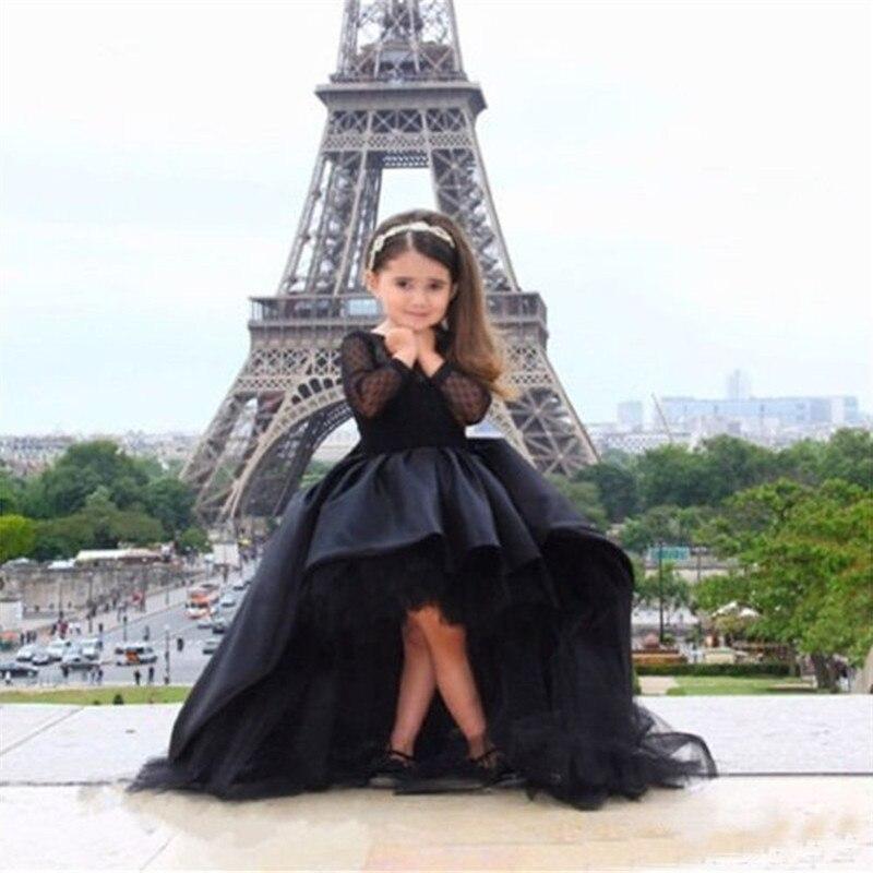 2016 élégant bal enfants Communion robes pour filles à manches longues noir fleur fille robes bébé fille Tutu robe