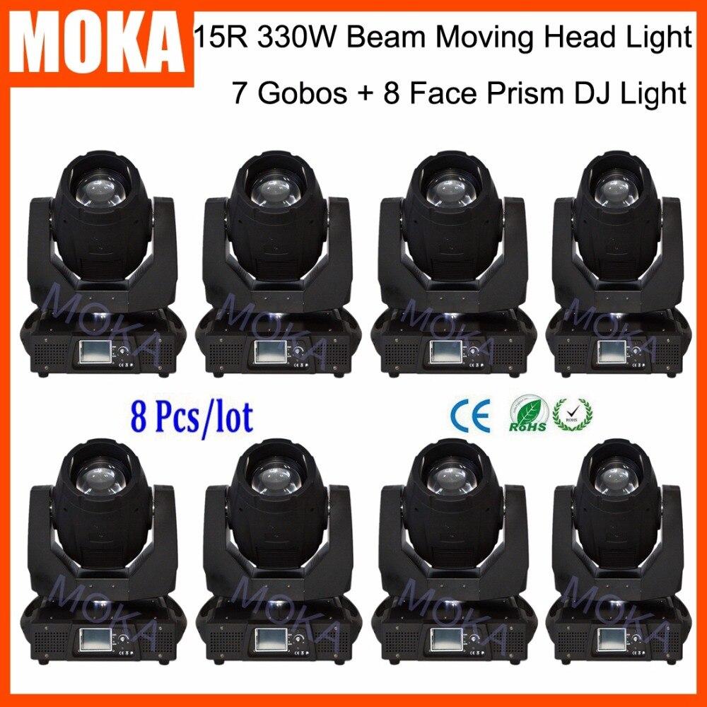 8 Pcs/lot 330W Beam Spot Head Moving Disco Indoor Show Outdoor Cerebration 15R Light AC100-240V 50-60HZ Power Supply starlight 15r 330w moving head beam lamp with ballast power supply