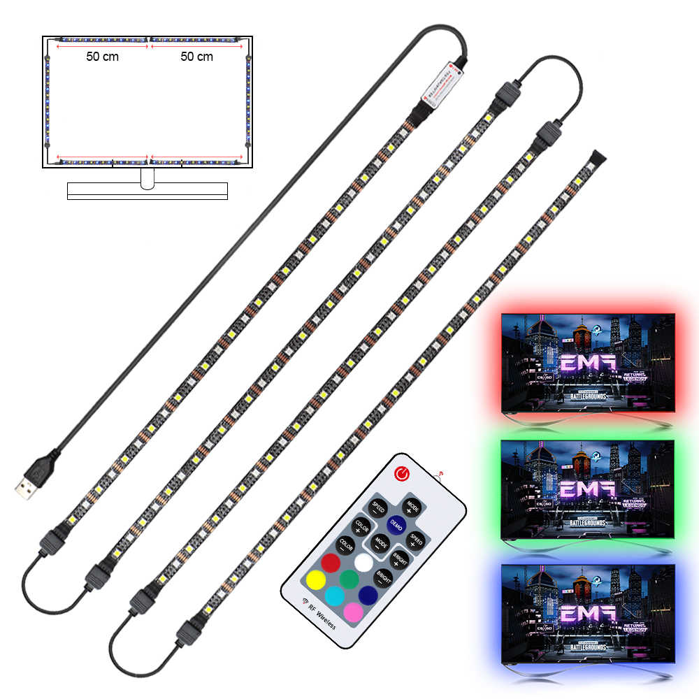 USB LED Strip RGB + Putih dengan Rancangan RF Remote Kontrol IP20/IP65 Flexible Strip Lampu 5050 RGBW Rgbww TV latar Belakang Lightgting