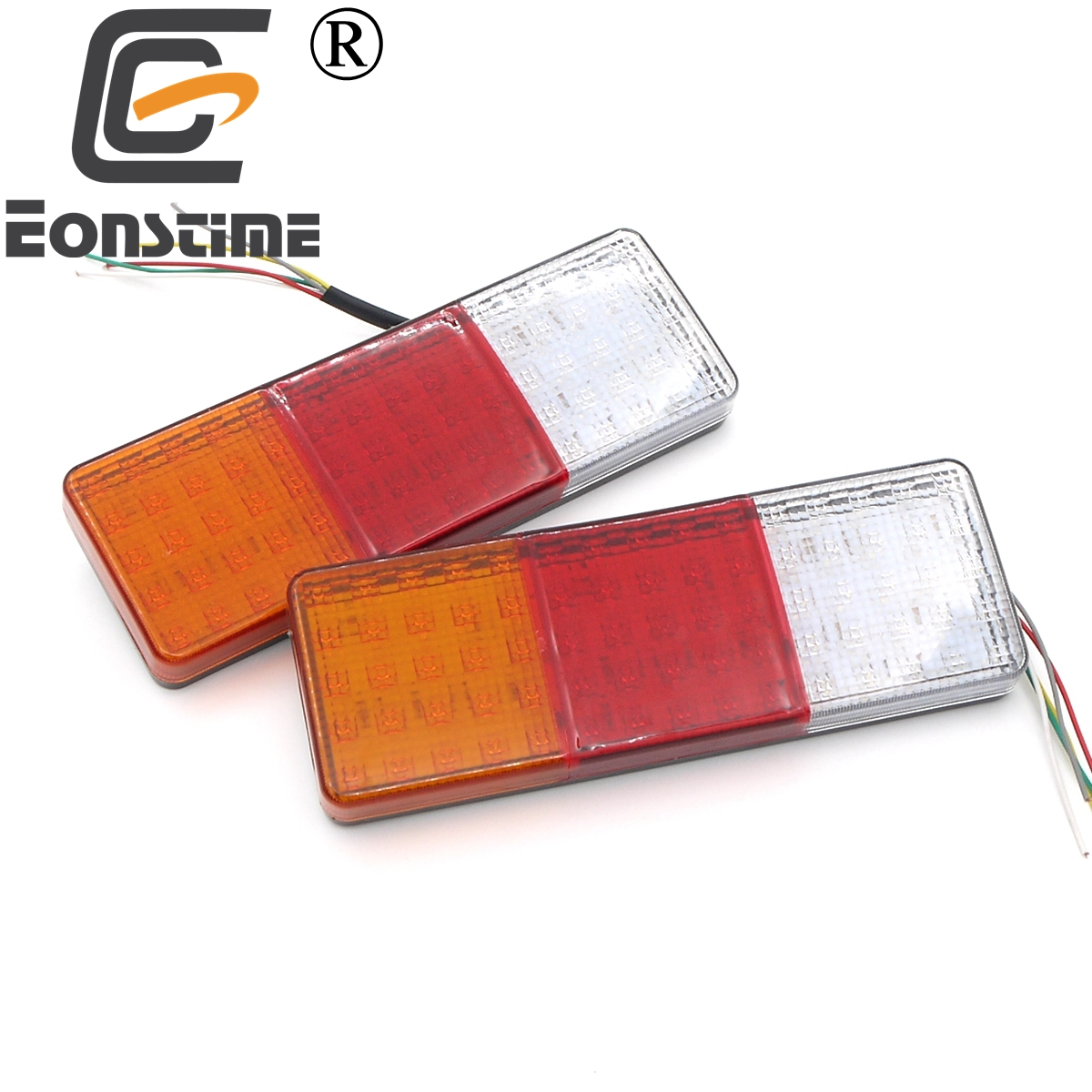 Eonstime 2pcs 12V/24V 75 LED Car Truck Tail Light Warning Lights Rear Lamps Waterproof Tailights Rear Parts Trailer Truck Light image