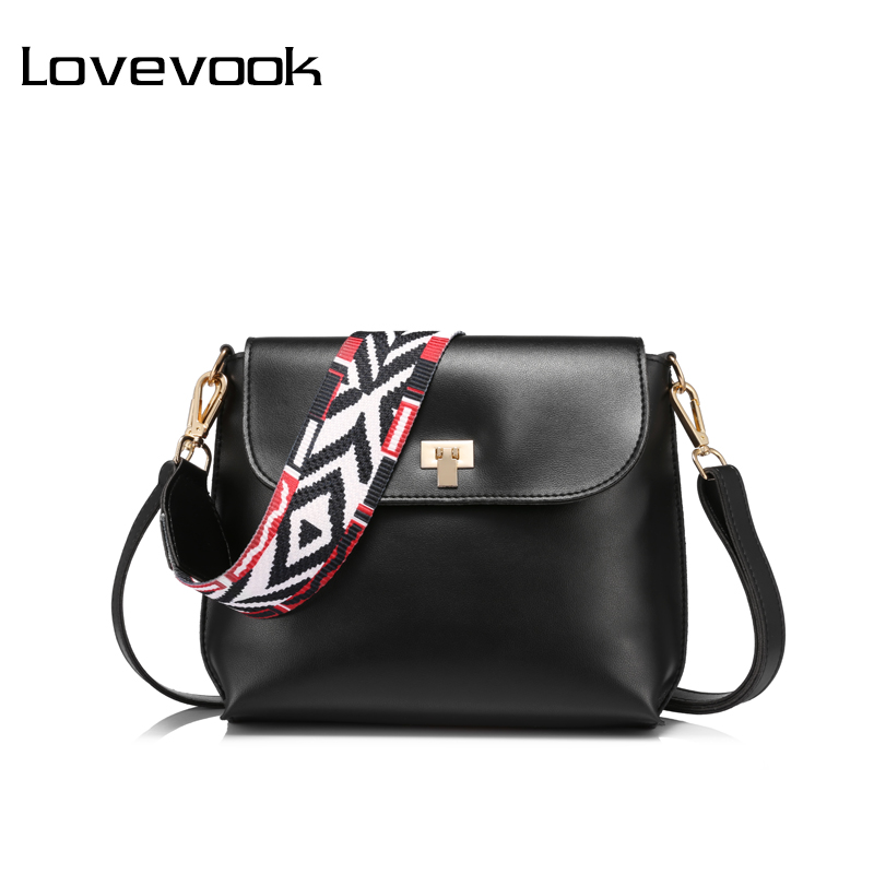 LOVEVOOK brand fashion colored wide strap shoulder bag female small handbag solid flap crossbody bags for women messenger bags