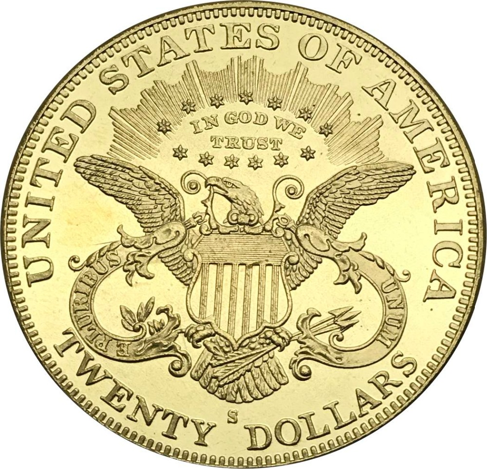 United States Of America Liberty 1878 S 20$ Twenty Dollars In God We Trust Gold Coin Brass Metal Copy Coins