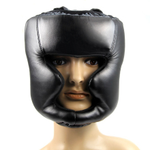 hot!!!Black Good Headgear Head Guard Training Helmet Kick Boxing Protection Gear