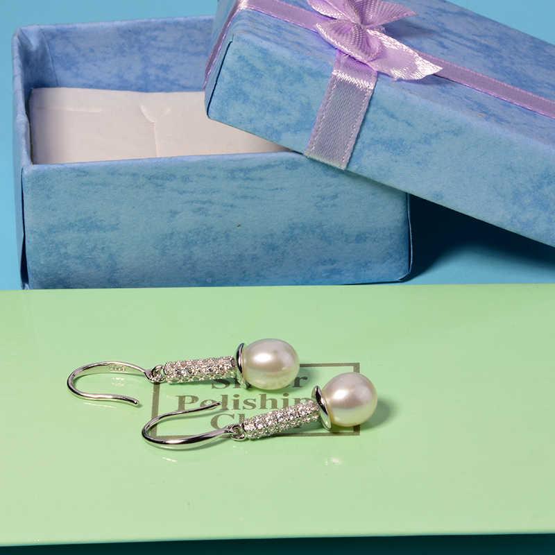 Yikalaisi 925 perła z polerowanego srebra biżuteria kolczyki nowy prawdziwe naturalne długie kolczyki moda biżuteria dla kobiet 8-9mm prezenty