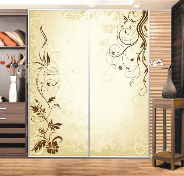 Sticker Miroir Pour Porte De Placard Custom Cabinet Stickers Closet Sticker Simple Golden Vine