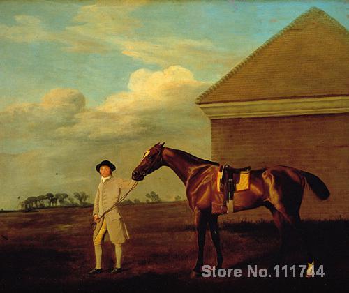 Animaux peintures cheval Firetail et Formateur sur Newmarket Heath George Stubbs art Haute qualité peint À la Main