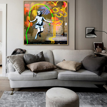ASkipping Girl Graffiti Urban Street Art Mural POP Wall Canvas Painting Posters and Prints Pictures for Room Wall Art цены
