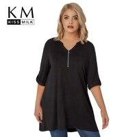 Kissmilk Plus Size 2018 New Fashion Women Half Sleeve V Neck T Shirt Female Blcack Casual