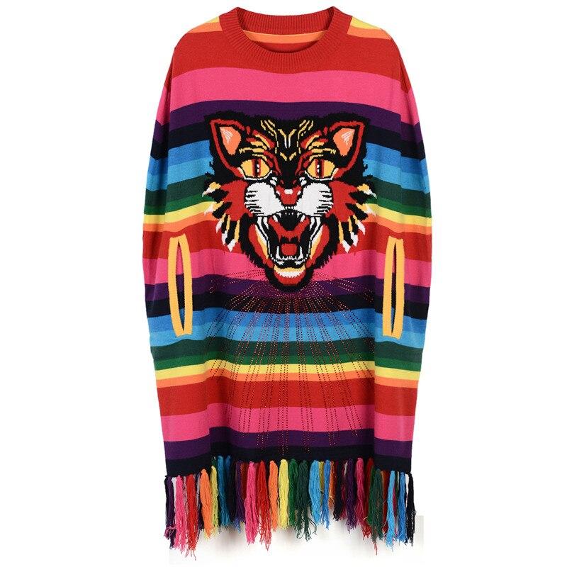 SRUILEE Lolita Tiger Head Jumper Autumn Winter New Women Sweater Rainbow Striped Sleeveless Pullover Knit Top Runway Jersey Cute