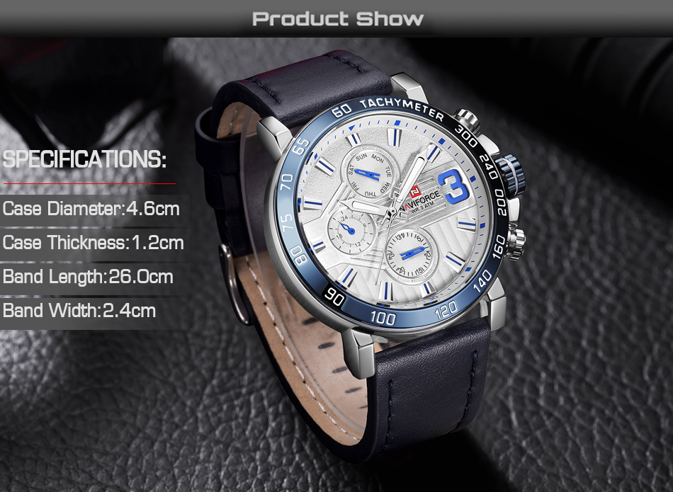 Top Brand Luxury NAVIFORCE Watches Men Fashion Leather Quartz Date 6 dial Clock Casual Sports Male Wrist Watch Montre Homme 6