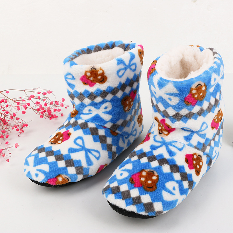 2017 Women At Home Warm Home Shoes Coral Fleece Indoor Floor Socks Winter Soft Plush Floor Slipper Best Quality Home Slippers soft plush big feet pattern winter slippers