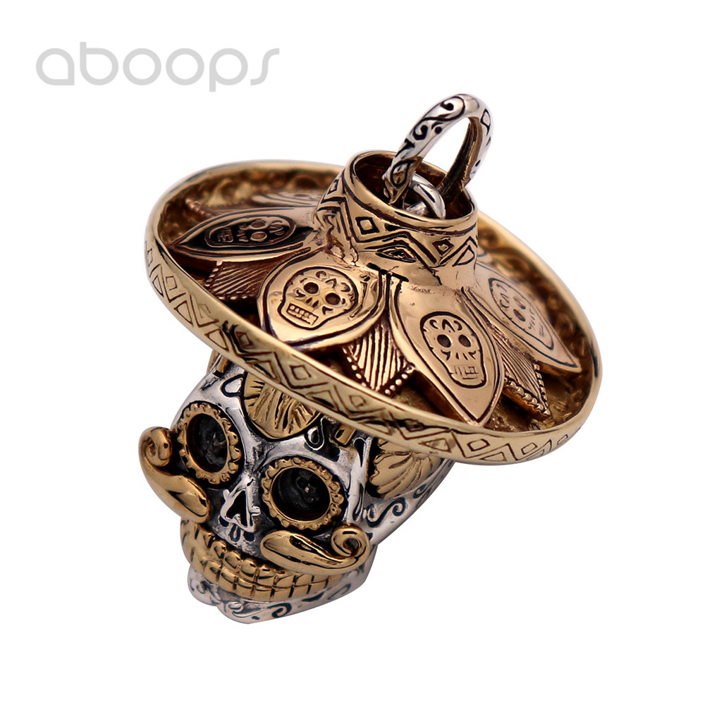 Two Tone Gothic 925 Sterling Silver Rose Gold Hip Hop Skull Head Necklace Pendant for Men Boys