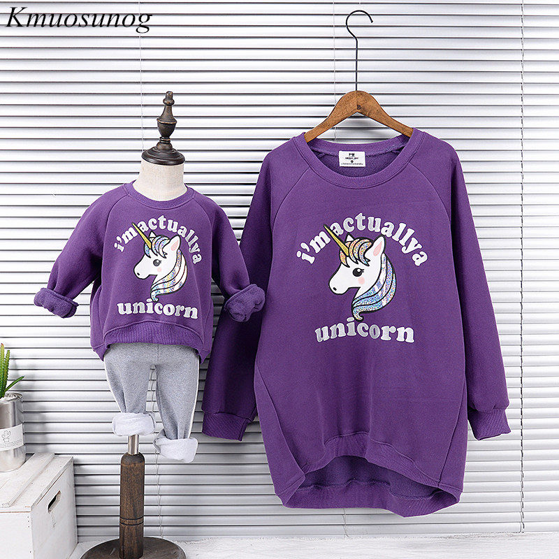 Mother And Daughter Top Sweatshirts 2019 Winter Family Matching Clothes Outwear Mom And Daughter Unicorn Print Clothes C0349 in Matching Family Outfits from Mother Kids