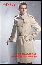 Бесплатная доставка Длинный отрезок в классические мужские бизнес случайный стенд воротник пальто мужские зимние пальто ветровка