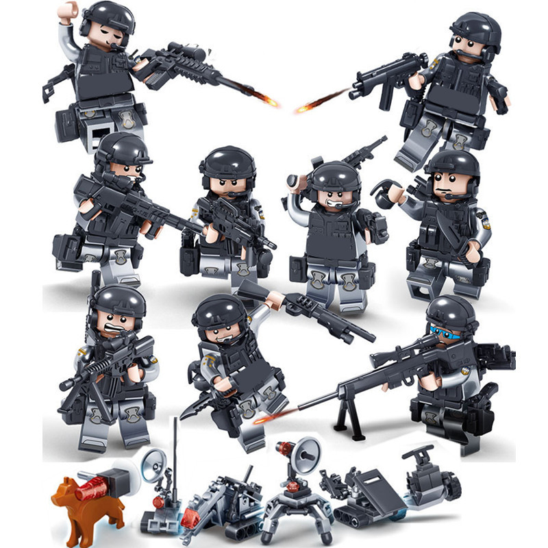 9pcs Ghost SWAT Team MILITARY Soldier Weapon WW2 City Gun Army Navy Seals Marine Building Blocks Figures Bricks Toy Boy children xinlexin 317p 4in1 military boys blocks soldier war weapon cannon dog bricks building blocks sets swat classic toys for children