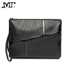 MJ Men's Clutch Bags Soft Leather Clutch Hand Bag Vintage Envelope Big Clutches Male File Bag Zipper Wallet Solid Large Capacity