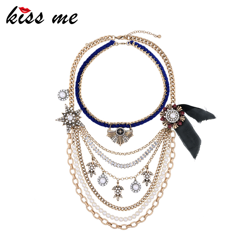 KISS ME Hyperbole Multilayer Necklaces for Women Antique Gold Color Long Chain Maxi Necklace Fashion Jewerlry