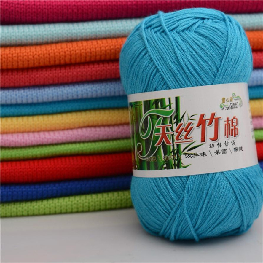 12 colors Soft Cotton Bamboo Crochet Knitting Yarn Baby Knit Wool Yarn