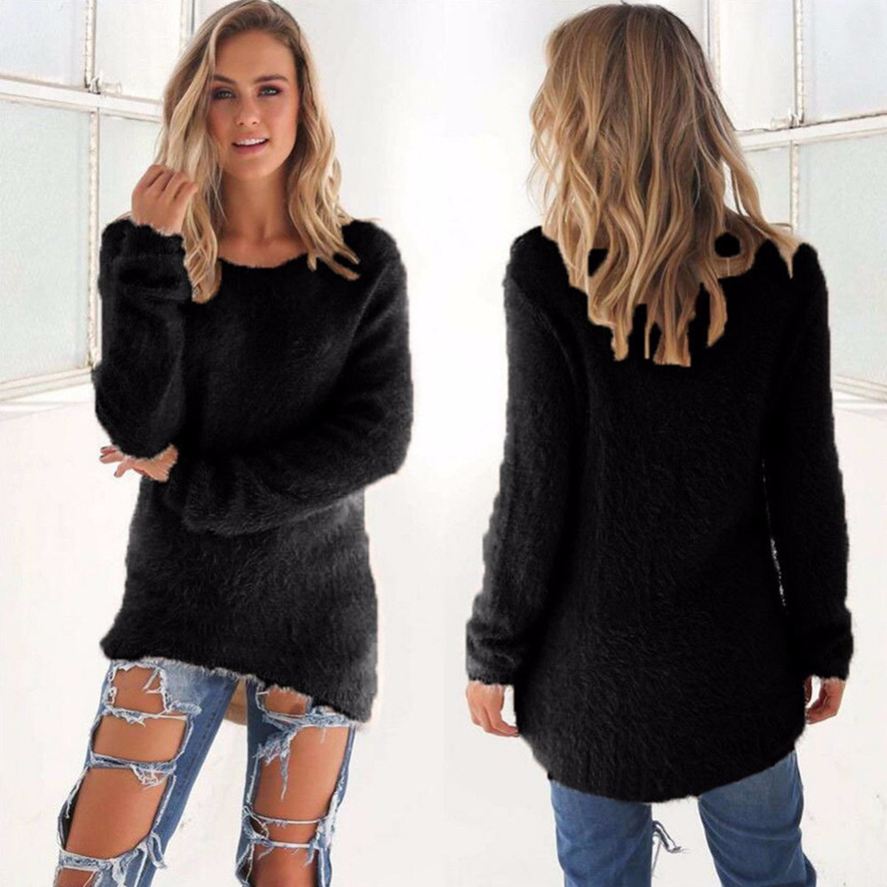Women Winter Solid Color Casual Warm Long Sleeve  Sweater Female Winter Autumn Warm Cotton Soft Sweater Knitted Casual Sweater