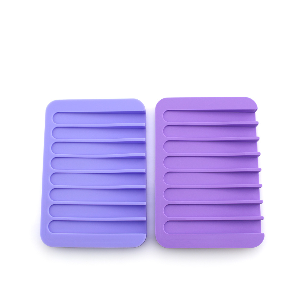 Silicone Flexible Soap Dish Storage Holder Bathroom Soapbox Plate Tray Drain Box