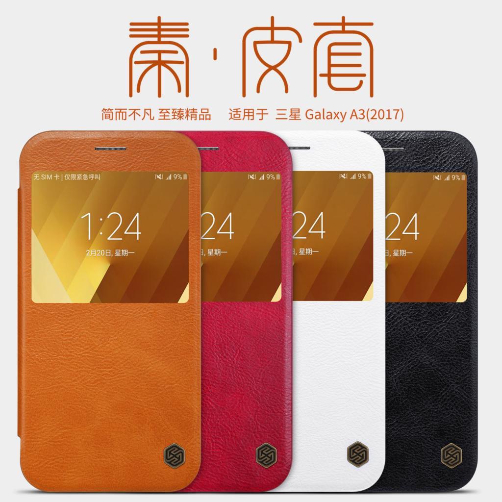 For Samsung Galaxy A3 2017 Vintage Leather Case Nillkin Qin Flip Cover for Samsung A3 2017 A320FL Dual Sim Retro Wallet Case
