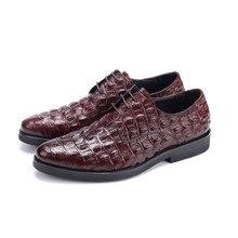 Крокодил Гра Коричневый загар/черный бизнес обувь мужская туфли из натуральной кожи дерби обувь мужская формальная обувь