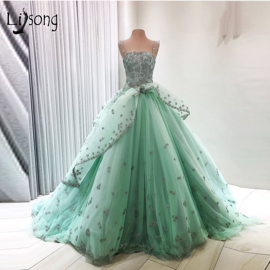 Luxury Sparkle Crystal   Prom     Dresses   2018 Pretty Green Beaded Appliques Puffy Ball Gowns Dubai Long   Prom   Gowns Abendkleider